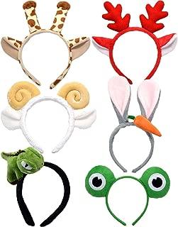 LONEEDY 6 Pack Plush Zoo Animal Headbands, Cute Jungle Safari Party Hair bands, Halloween Supplies, Christmas Decoration for Kids Adults (Red Elk + Dinosaur Mixed 6)
