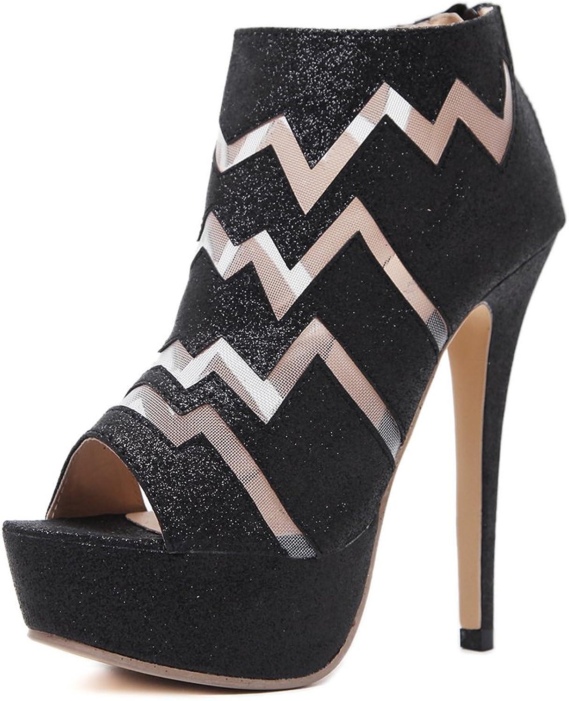 AGoGo Dress Sandals Women Ankle Heels Sexy Peep Toe Platform Pumps Boots