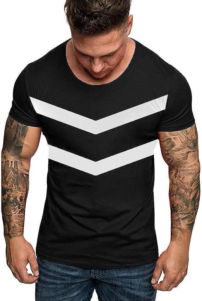 Gergeos Mens Stripes T-Shirts Summer Casual O-Neck Short Sleeve Slim Fit Tshirts Tees