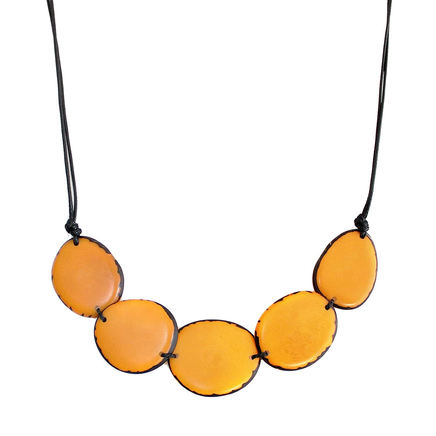 Manufacturer regenerated product Tagua Nut Necklace Yellow Chips Trade Fair Adjustable Handmade Ranking TOP4