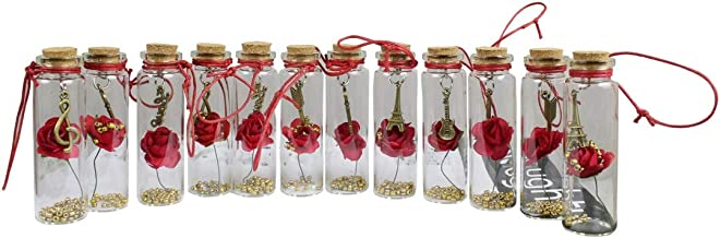 BlankLeaf Personalized Love Message in a Bottle with Pearls Filling 7 cm Tall, 12 Pcs Set