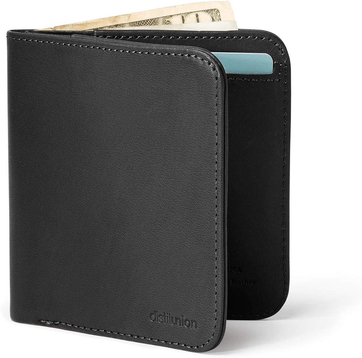 Distil Union Wally Agent Thin Minimalist Bifold Genuine Leather Wallet For Men