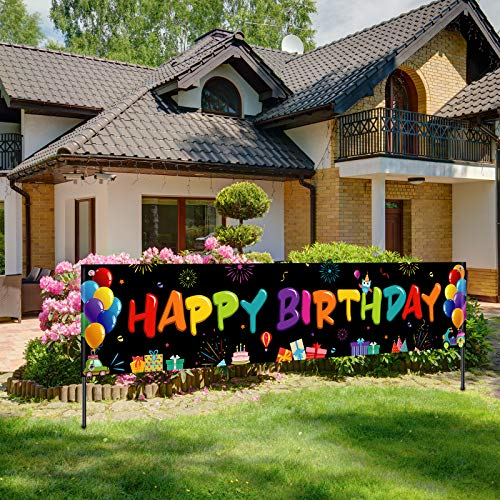 Colorful Happy Birthday Banner, Large Fabric Happy Birthday Sign Backdrop Background, Happy Birthday Yard Sign for Kids Birthday Party Decorations Girls Boys Bday Decor, 71 x 15.7 inches (Dark)