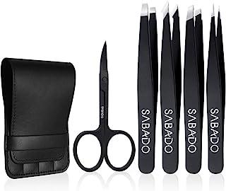 Tweezers Set 5-Piece – Professional Stainless Steel Tweezers with Curved Scissors,..