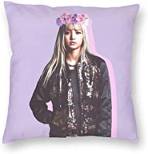 SSG One Street Velvet Soft Modern Decorative Square Throw Pillow Covers Set Wedding Gift, Blackpink Kpop Girls Rapper Lalisa Manoban Purple Photo Stain Resistant Cushion Case for Couch Living Room