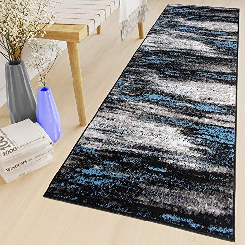 Tapiso Maya Teppich Läufer Meterware Kurzflor Wohnzimmer Flur Küche Modern Brücke Grau Blau Schwarz Verwischt Meliert Design ÖKOTEX 70 x 310 cm
