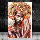 N / A Imágenes de Arte de Graffiti de Carteles callejeros Femeninos destacados y Estampados en la Pared Sin Marco 60x80 cm