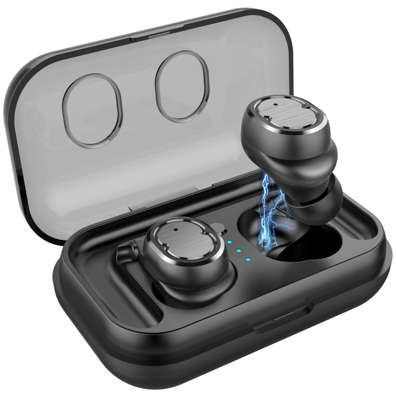 Auriculares Bluetooth 5.0 con Micrófonos, PEYOU Auriculares Inalambricos Bluetooth Deporte, Impermeables Auriculares In-Ear Estéreo CVC 6.0 con Caja de Carga Portátil para iPhone Android, Manos Libres: Amazon.es: Electrónica