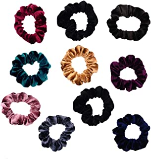 10 Pack Assorted Color Small Velvet Scrunchies for Thin Hair Women Elastic Hair Bands Accessories