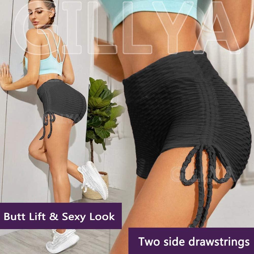 GILLYA Booty Yoga Shorts Textured Leggings Women Butt Lift High Waisted Tummy Control Scrunch Butt Leggings Booty Shorts