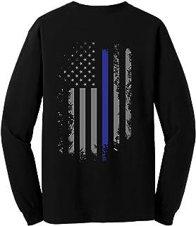 GunShowTees Men`s Back The Blue/USA Flag Police Lives Matter Long Sleeve T-Shirt