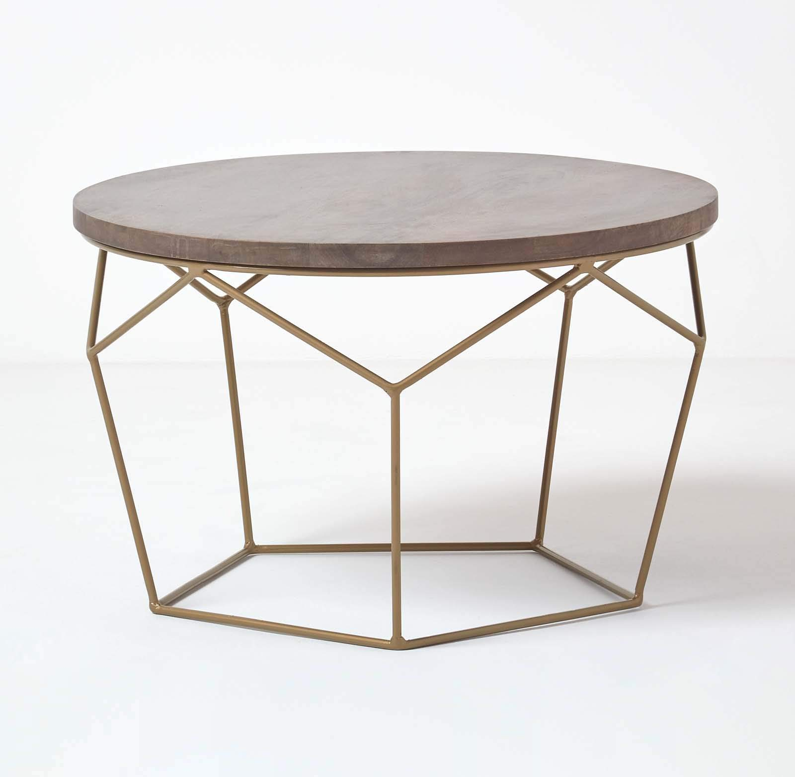 - HOMESCAPES Grey And Gold Industrial Round Coffee Table 70cm Wide