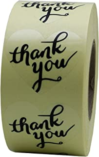 Hybsk Love Heart Clear Wafer Thank You Stickers with Black Ink 1.5 Inch Adhesive Labels 500 Per Roll