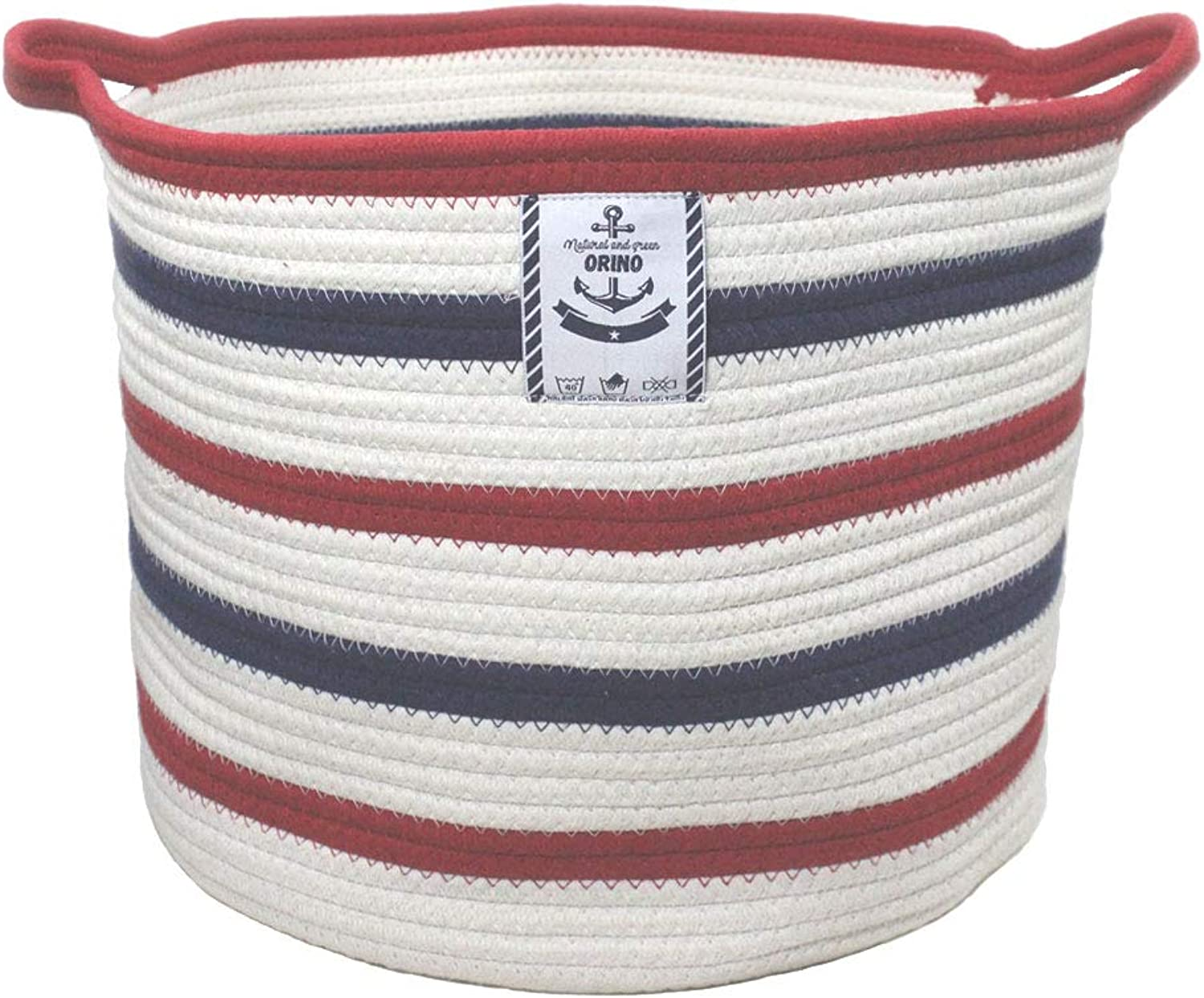 Orino Large Cotton Rope Storage Baskets with Handle Soft Durable Laundry Baskets Nursery Hamper Organizer for Kids' Toys Home Decorations Blanket Basket (15.8x15x11.8 inch, bluee and Red Stripe)