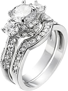 Wedding Band Engagement Ring Set for Women White Gold 2.5Ct Round White AAA Cz Size 5-11