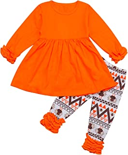 bilison 2Pcs Thanksgiving Outfit Kids Toddler Baby Girls T-Shirt Top Dress+Ruched Ruffle Pants Fall Winter Clothes Set