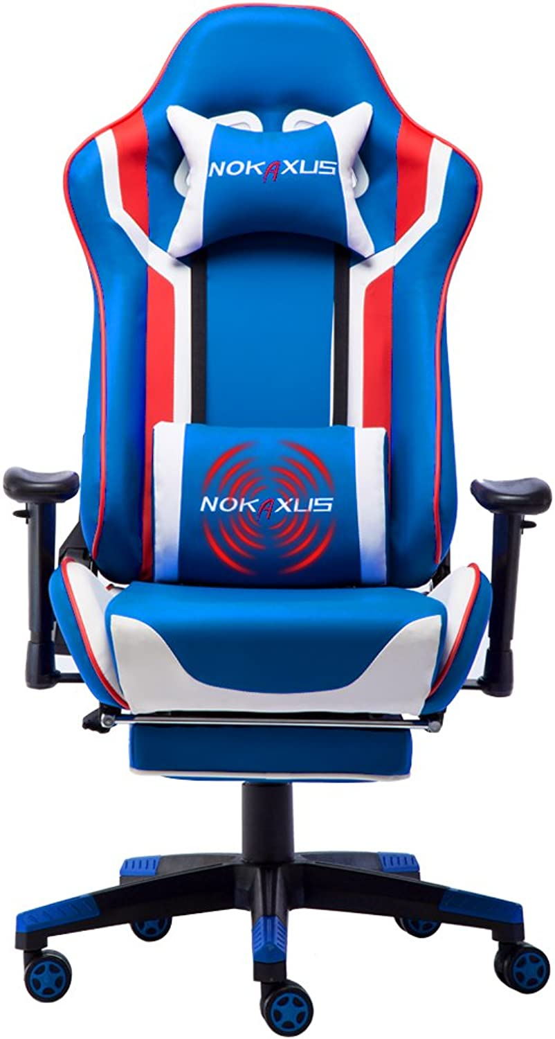 Nokaxus Gaming Chair Large Size High-Back Ergonomic Racing Seat with Massager Lumbar Support and Retractible Footrest PU Leather 90-180 Degree Adjustment of backrest Thickening sponges (YK-6007-blueE)