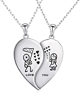 S925 Sterling Silver Mens Womens Couple Lovers Friendship BFF Matching Pendant Necklace for 2