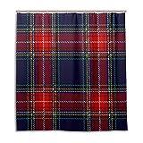 My Daily Marineblau & Rot Kariert Gingham Karierte Duschvorhang 167,6x 182,9cm, schimmelresistent und Wasserdicht Polyester Dekoration Badezimmer Vorhang