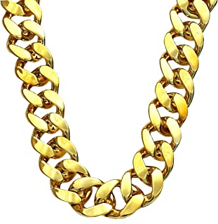 Big Chunky Gold Chain Necklace, Hip Hop Turnover Plastic Necklace, 90s Punk Style Necklace for Rapper Costume, 36 inches Long