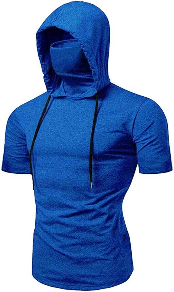 Holzkary Men's Workout Hooded Tank Tops Pure Color Sleeveless/Short Sleeve Gym Hoodies T-Shirts