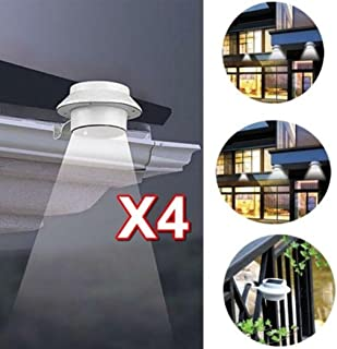 XEDUO LED Solar Powered Light New 4 Pcs Solar Powered White Gutter Light 3 LED Bracket Path Light Outdoor/Garden/Yard/Wall/Fence/Pathway Lamp (White)