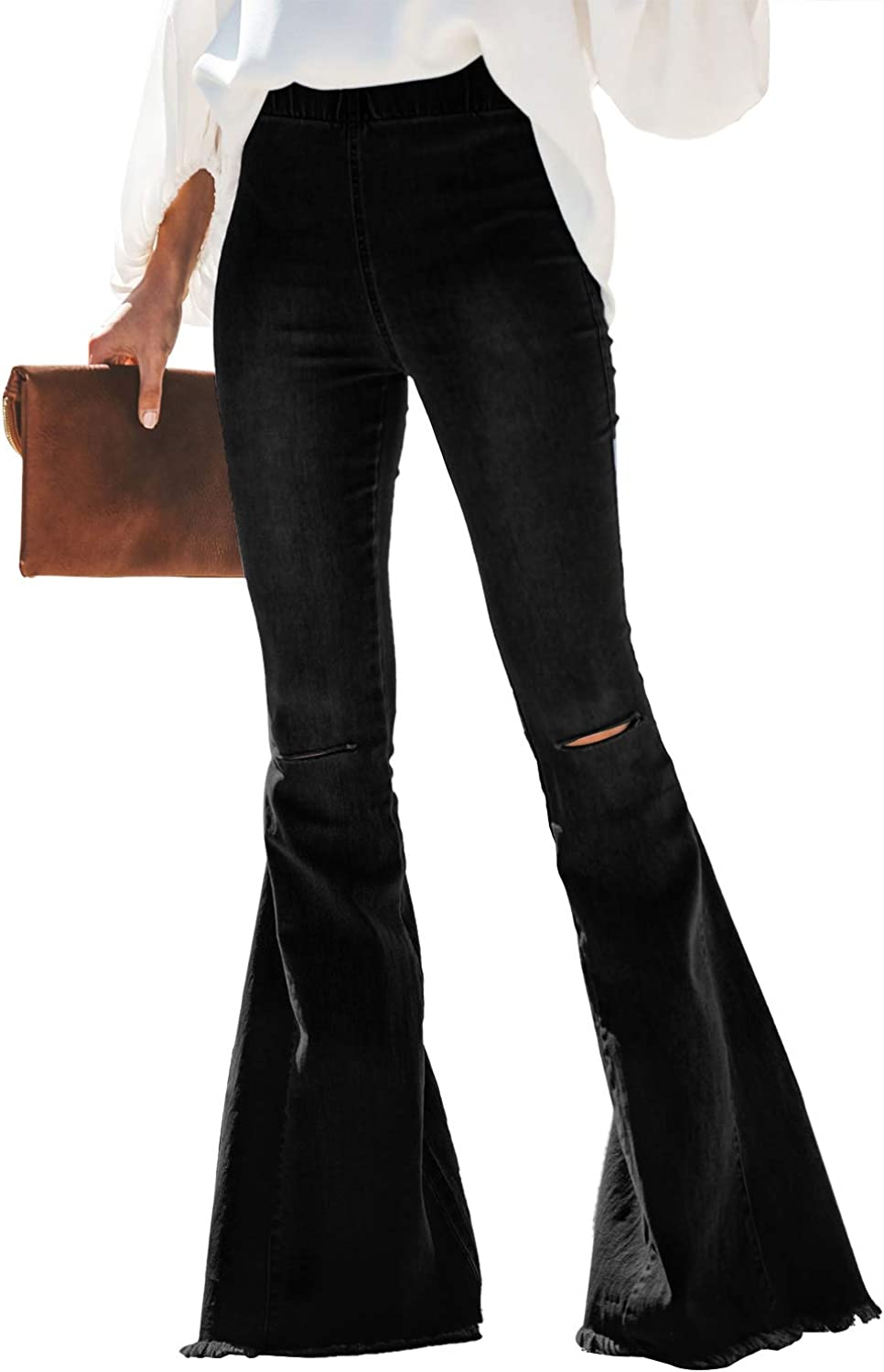 Paitluc half Womens Classic Max 87% OFF Stretchy Flare Pa Denim Jeans Bell Bottom