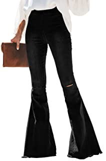 Paitluc Womens Classic Stretchy Flare Bell Bottom Denim Jeans Pants