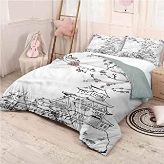 Castle Fairy Bone Dinosaur Bed Duvet Cover Queen Sky Blue Aircraft Bedding Set Comforter Bed Cover for Boys Girls Luxury Dino Comforter Cover with Zipper Ties 3Pcs Bedclothes