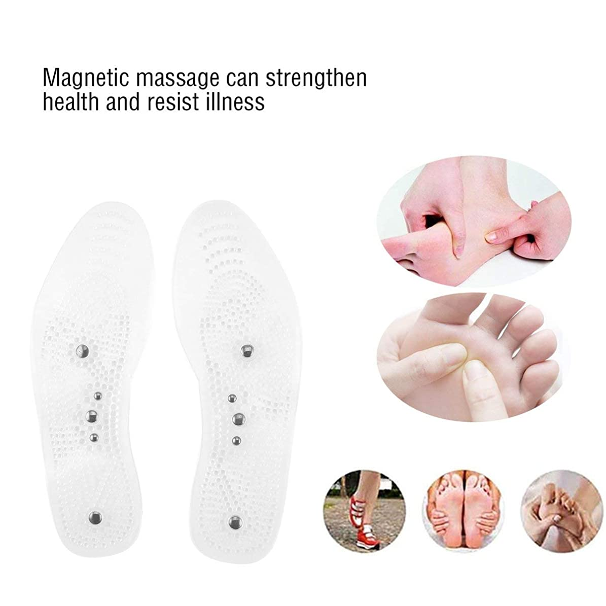 液化するニュージーランド分解するMagnetic Therapy Health Care Foot Massage Insoles Anti-fatigue Magnetic Shoe Pads Silicone Foot Massager for Men Women