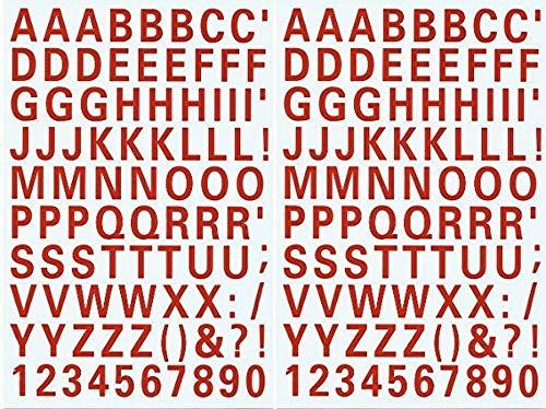 (シャシャン)XIAXIN 防水 PVC製 アルファベット ナンバー ステッカー セット 耐候 耐水 ローマ字 数字 キャラクター 表札 スーツケース ネームプレート ロッカー 屋内外 兼用 TS-539 (2点, レッド)