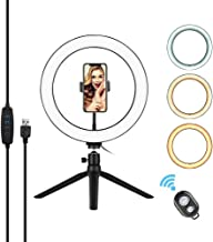 $27 » Andoer 10 Inch LED Ring Light with Tripod Stand Phone Holder Remote Control 3200K-5500K Dimmable Table Camera Light Lamp 3 Light Modes & 10 Brightness Level for YouTube Video Photo Studio Live