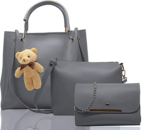Classic PU Leather Latest Stylish Handbags For Women S Ladies Combo Of 3 Grey Teddy B