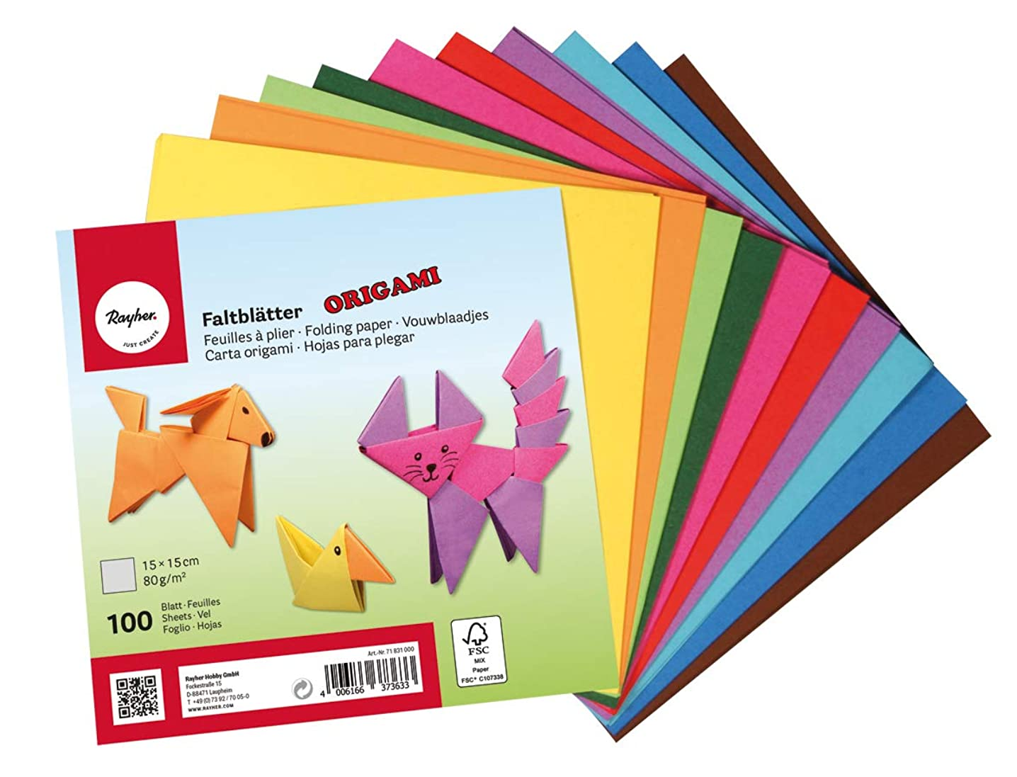 Rayher 71831000 Origami Paper, Origami Folding Paper Pack, 100 Sheets and 10 Assorted Colours, 15x15cm