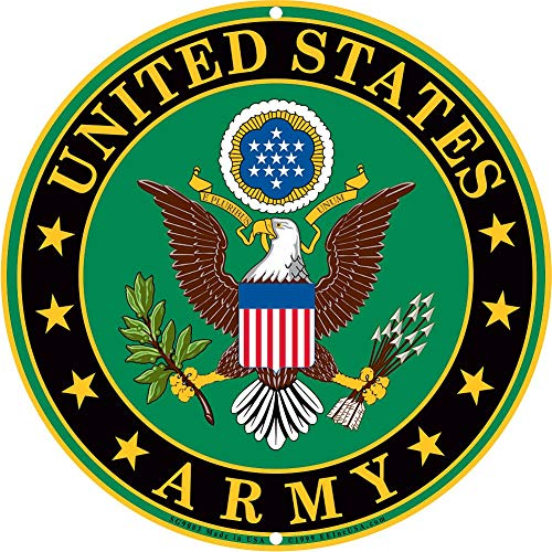Army Military Logo Aluminum Metal Sign -12 Inch Diameter U.S. Service House Wall Decoration
