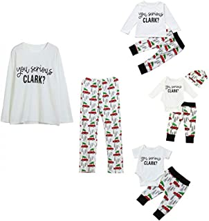 Family Matching Christmas Pajamas Sleepwear Letter Printed Long Sleeve Tops Xmas Tree and Car Pjs Pant Set