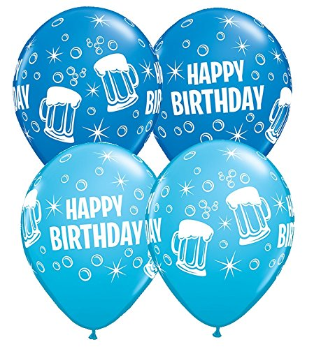 Luftballons Happy Birthday Biergläser Qualatex, blau, ca. 30 cm, 5 St.