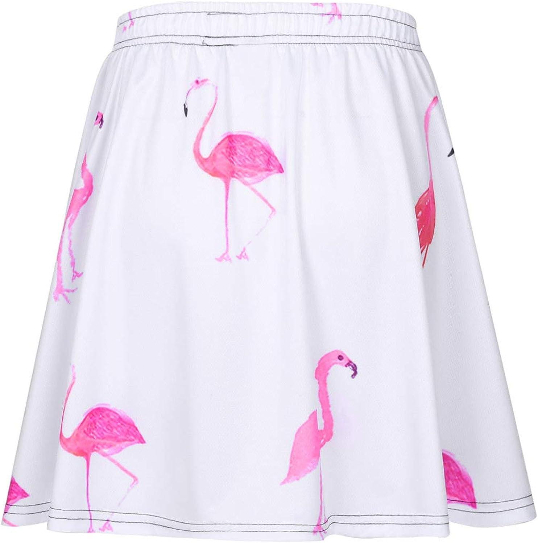 MSemis Women's Basic Versatile Casual Mini Skirts Printed A-line Flared Vintage Pleated Dress