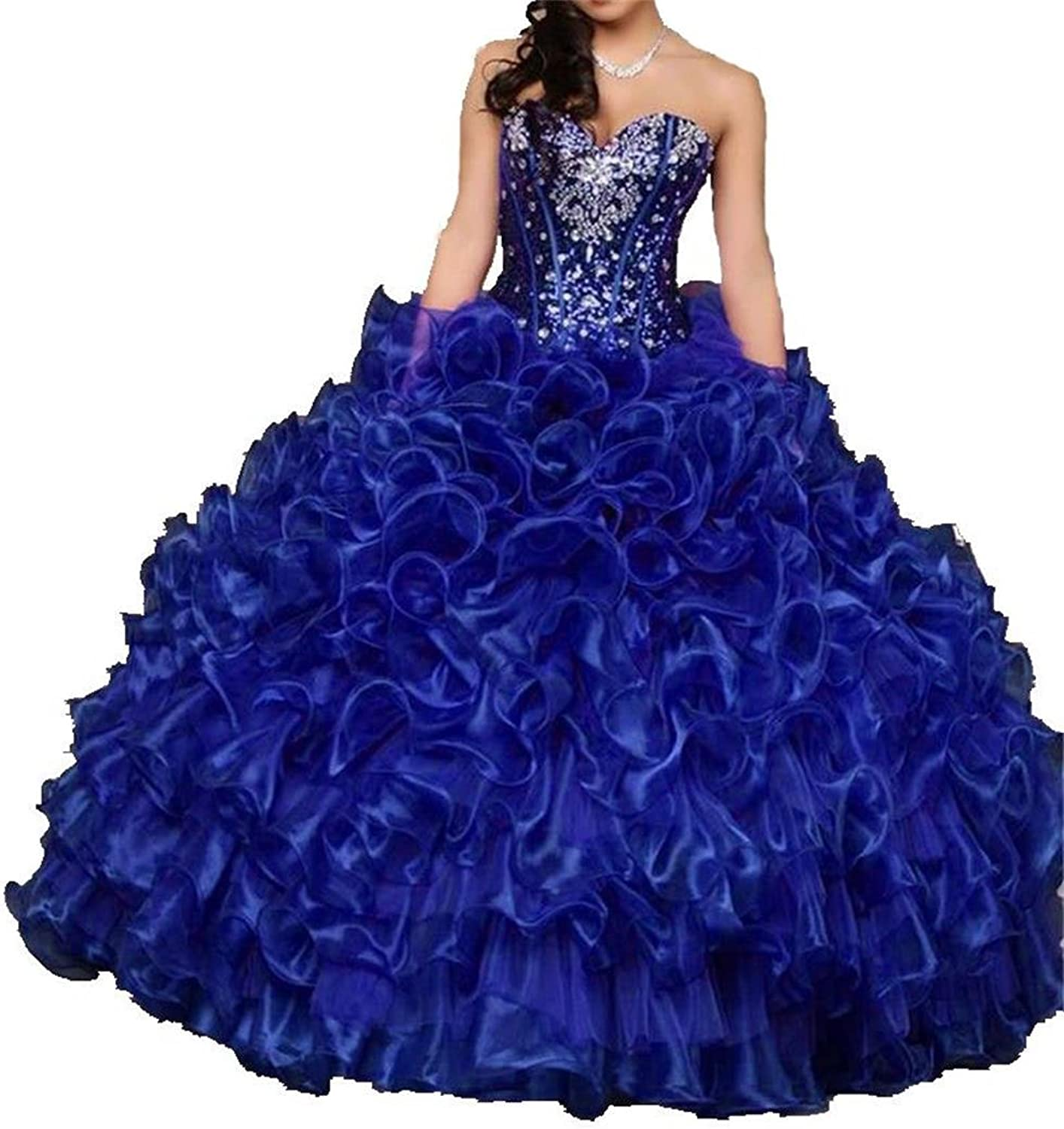 Dydsz Women's Quinceanera Dresses Beaded Ball Gown Prom Party Dress Juniors D15