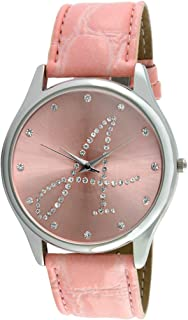 Women Silver Tone Round Wrist Watch w/Pink Strap & Initial on Crystal Dial