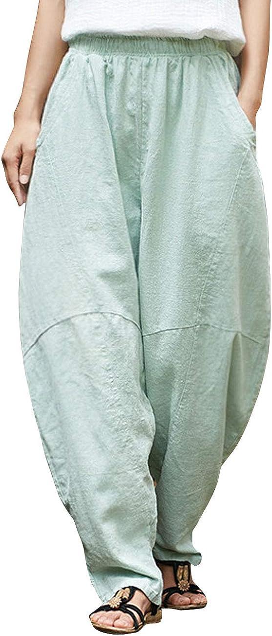 IXIMO Women's Cotton Linen Pants Casual Elastic Waist Lantern Slacks Loose Fit Baggy Trousers with Pockets