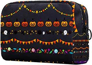 Halloween Pattern Makeup Bag Toiletry Bag for Women Skincare Cosmetic Handy Pouch Zipper Handbag