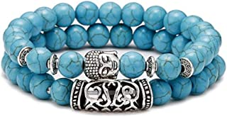 Anxiety Bracelet 2Pcs/Set Natural Stone Bracelet Men Vintage Ethnic Buddha Bracelet Yoga Prayer Jewelry Couple Braslet