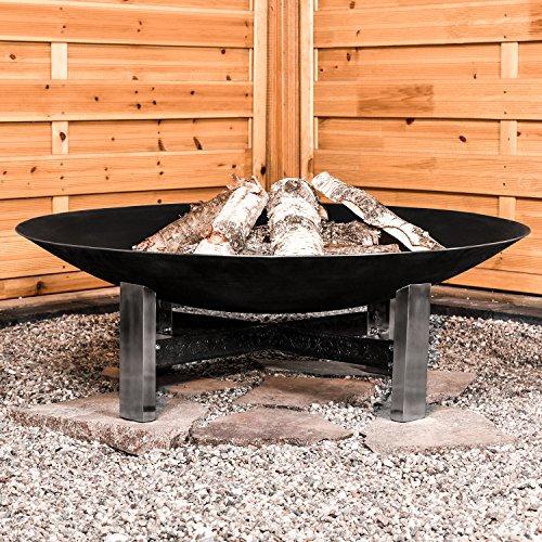 Köhko Feuerschale Sevilla Ø 790 mm Feuerstelle auf Edelstahl-Ständer und kunstvoll verzierten Eisenstreben 41007