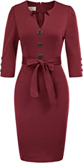 GRACE KARIN Women Retro 3/4 Sleeve Work Office Business Pencil Dress with Belt
