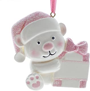 Rudolph and Me Baby's First Christmas Ornaments 2018,Personalize Christmas Ornament,Free Pen with Gifts Box Provided, Made of Resin (Pink)