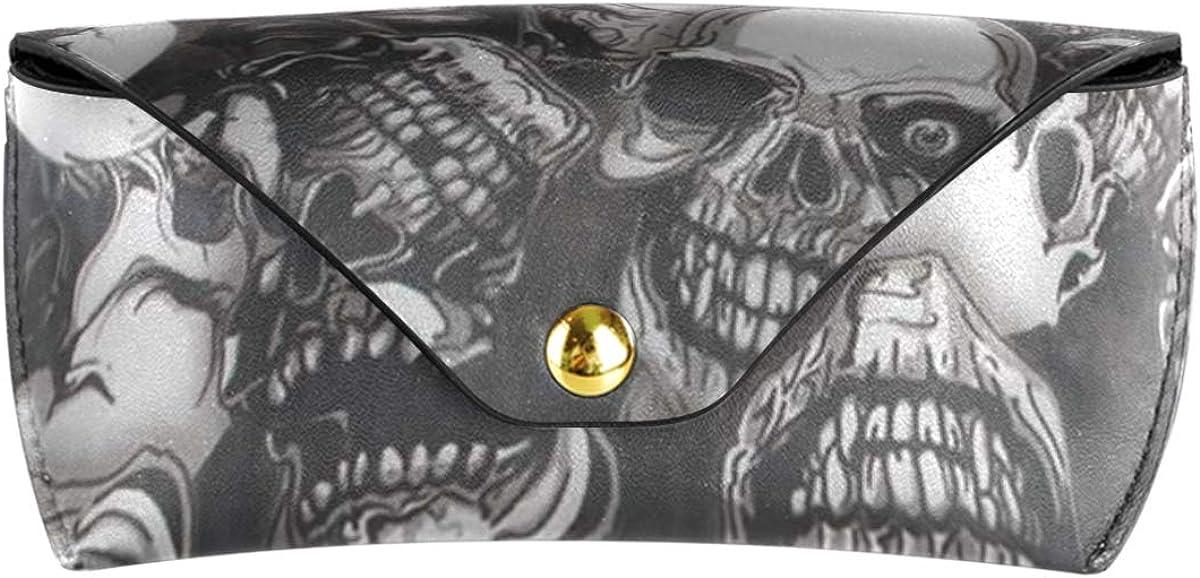 Portable PU Leather Sunglasses Case Eyeglasses Pouch Multiuse Travel Halloween Pattern Horrifying Skull Goggles Bag