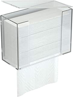 RonXer Paper Towel Dispenser, Wall Mount Or Counter Top Holder for C-Fold Multifold  Z-Fold Trifold Paper Towel,Hand Napkin with Dust Cover