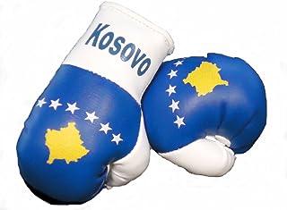 Sportfanshop24 Mini Boxhandschuhe Kosovo, 1 Paar (2 Stück) Miniboxhandschuhe z. B. für Auto Innenspiegel