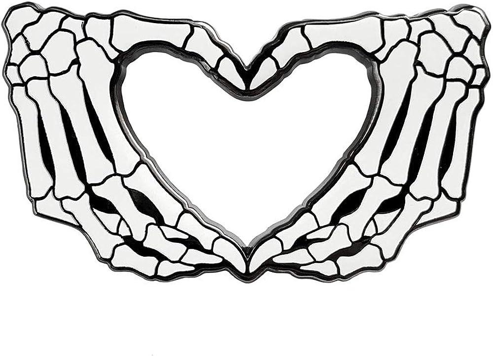 Pinsanity Skeleton 40% Fresno Mall OFF Cheap Sale Hands Heart Pin Enamel Lapel